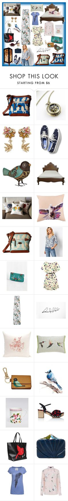 """""""Birds #3"""" by davensan ❤ liked on Polyvore featuring b.o.c. Børn Concept, Miriam Haskell, Keds, Kensie, Oasis, Warehouse, WALL, e by design, FOSSIL and Miu Miu"""