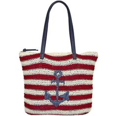 Lilac + Black Striped Straw Anchor Tote ($23) ❤ liked on Polyvore featuring bags, handbags, tote bags, tote handbags, anchor tote, zip top tote bag, pocket tote and stripe tote bag