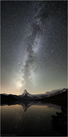 milky way, Matterhorn in the Swiss Alps, by Christian Klepp