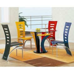 This dining room set is so cool with it's Legos-meets-modern-decor vibe!