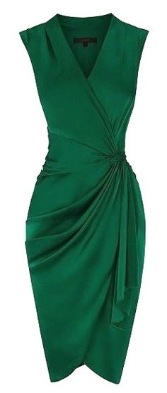 Coast Lavinia dress in deep emerald green (sculpted to flatter the feminine figure, the dress features a flattering wrap style V neck which gathers at the waist with a contrasting waist tie. The dress is lined for effortless wearing and should be teamed with heels for a radiant look.)