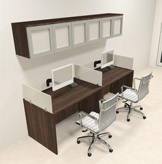 Two Person Modern Divider Office Workstation Desk Set CH AMB SP84