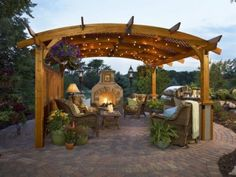 Pergola kit and gas hearth from Godby Hearth & Home.