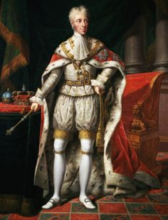 Frederick VI of Denmark and Norway in coronation robes. Reign: 13 March 1808–3 December 1839. Coronation: 31 July 1815, Frederiksborg Palace Chapel. For his motto he chose: God and the just cause (Danish: Gud og den retfærdige sag) and since the time of his reign, Danish monarchs have only used mottos in the Danish language instead of the usual Latin.