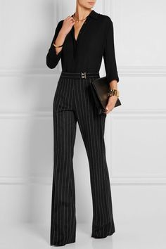 Maison Margiela - Pinstriped wool and angora-blend wide-leg pants Office Fashion, Business Fashion, Work Fashion, Business Dress Code, Business Dresses, Dressy Casual Outfits, Style Casual, Mode Outfits, Fashion Outfits