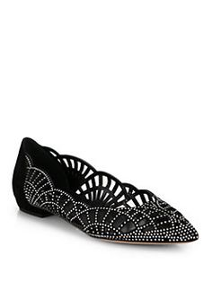 c8ac81baf51d8 Giorgio Armani - Crystal-Covered Suede Point-Toe Ballet Flats Comfortable  Flats