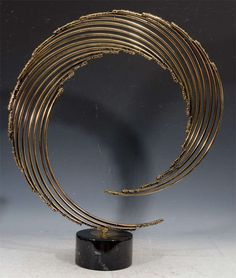 """Mid Century Abstract """"Wave"""" Sculpture by Curtis Jere 2"""