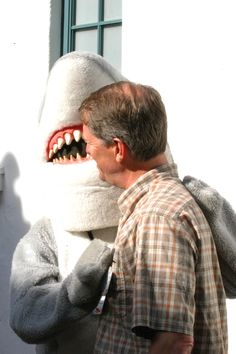 #Toothy the #Shark talking about World Oceans Day JUNE 6, 2015 with Ron Skinner, Community Education Manager / *click for the events at #SeaCenter and #StearnsWharf