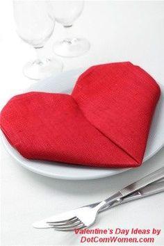 Heart Napkin Folding for Valentine's Day - Instructions via Dotcomwomen.
