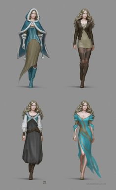 dresses by kir-tat dress gown hooded cloak female wizard warlock sorcerer sorceress witch player character npc equipment gear magic item | Create your own roleplaying game material w/ RPG Bard: www.rpgbard.com | Writing inspiration for Dungeons and Dragons DND D&D Pathfinder PFRPG Warhammer 40k Star Wars Shadowrun Call of Cthulhu Lord of the Rings LoTR + d20 fantasy science fiction scifi horror design | Not Trusty Sword art: click artwork for source