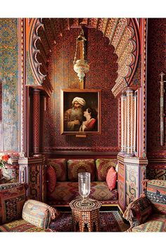 A small nook in the library, which Yves Saint Laurent said was his 'favorite room in the world.' Marrakech <<< Love Moroccan architecture and culture so much, wish it was a safer place to visit Moroccan Design, Moroccan Decor, Moroccan Style, Moroccan Lounge, Riad Marrakech, Marrakesh, Home Interior, Interior And Exterior, Interior Design