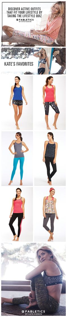 Fabletics by Kate Hudson. A Curated Collection of Activewear that is a Buy Now and Wear Forever. Discover Stylish Workout Outfits at Up To 50% Off That Fit Your Lifestyle by Taking our Lifestyle Quiz! I LOVE these clothes!