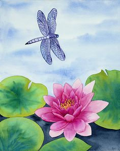 Dragonfly with Water Lily Watercolor Painting, Pink Lotus Flower Peaceful Nature Fine Art Print