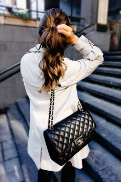 Classic Chanel bag and a cute curly ponytail