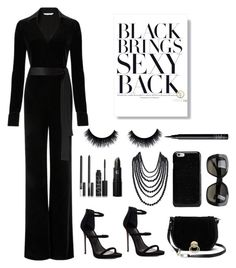 """""""Black brings sexy back"""" by im-karla-with-a-k ❤ liked on Polyvore featuring Diane Von Furstenberg, NARS Cosmetics, Lipstick Queen, Humble Chic, Maison Margiela, Lipsy and Bottega Veneta"""