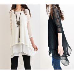 Moroccan breeze zen layered tunic dress (Q5110) ($56) via Polyvore featuring dresses, layered dress, white layered dress, double layer dress, white dress and white day dress
