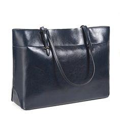 S-ZONE Women's Vintage Genuine Leather Tote Shoulder Bag Handbag (Dark Blue)…