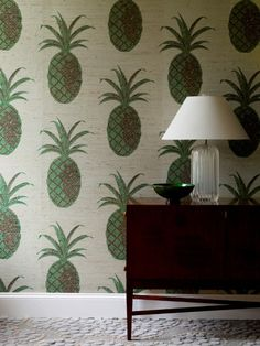 greg-kinsella pineapple wallpaper YES master bedroom decor robot wallpaper Pineapple Wallpaper, Sweet Home, Estilo Tropical, Interior And Exterior, Interior Design, Style Deco, Home And Deco, Wall Treatments, Wall Wallpaper