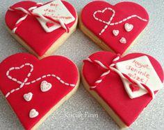 Kırmızı Kalpli kurabiyeler ♥ #valentine #sevgiler günü