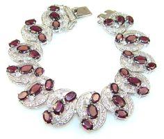 $232.15 Opening Night 145ct. Rhodonite Garnet Sterling Silver Bracelet at www.SilverRushStyle.com #bracelet #handmade #jewelry #silver #garnet
