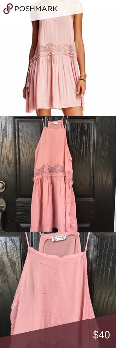 Free People pink two for tea slip dress NWOT. Brand new never worn Free People slip dress. Looks so cute with leggings and a vest or even under a sweater or cardigan. Thanks for looking. Free People Dresses Midi