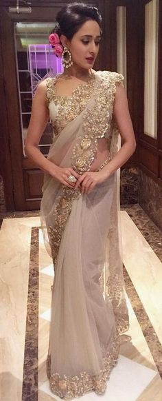 By designer Anushree Reddy. Bridelan- Personal shopper & style consultants for Indian/NRI weddings, Trendy Sarees, Stylish Sarees, Indian Dresses, Indian Outfits, Latest Wedding Dresses Indian, Bridesmaid Saree, Sequin Bridesmaid, Bridesmaid Outfit, Bridesmaid Ideas