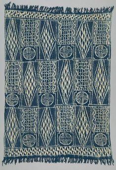Royal Cloth of Cameroon: West African Wrap // Cotton, Raffia, Indigo Dye