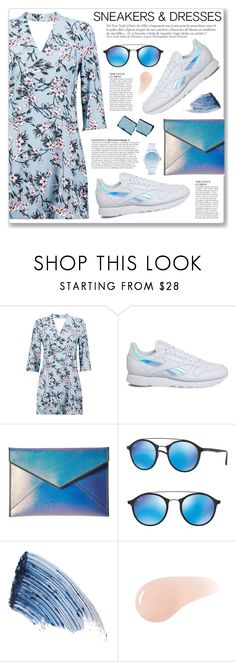 """Sporty Chic: Sneakers and Dresses"" by myduza-and-koteczka ❤ liked on Polyvore featuring Boohoo, Reebok, Rebecca Minkoff, Anja, Ray-Ban, Sisley, Urban Decay and Lacoste"
