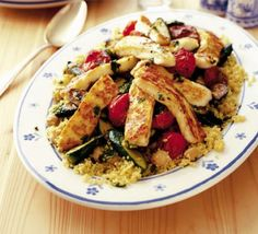 Summer couscous salad with halloumi, courgette and chickpeas. Major calories come from oil (274) and halloumi (234)