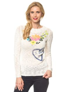 "Desigual - Pullover ""Flowers"" in Offwhite 