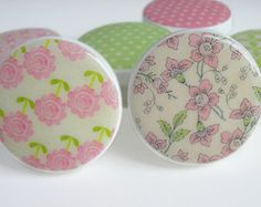 Pretty Pink and Green Floral Print Knobs, Pink and Green Polka Dot Drawer Knobs, Girl's Flower Knobs- Wood Knobs- 1 1/2 Inches - Set of 6