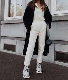 Le Apt Long Wool Coat, Donni Thermal Pullover , Sophie H Trousers, Balenciaga Triple S Sneakers , Hyethe Soft Pillow Bag Trench Coats, Fall Winter Outfits, Autumn Winter Fashion, Pret A Porter Feminin, Winter Wardrobe, Modern Fashion, Fashion Details, Casual Looks, Cute Outfits