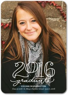 Artsy calligraphy-inspired graduation announcements- just the style for your artistic 2016 grad. Senior Graduation Quotes, Graduation 2016, Graduation Caps, Grad Cap, Graduation Ideas, Wedding Shower Invitations, Graduation Invitations, Senior Announcements, Capture Photography