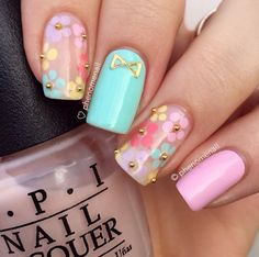 Spring Pastel Nail Art Designs Maybe just the ring finger Flower Nail Designs, Cute Nail Art Designs, Nail Designs Spring, Floral Designs, Nail Designs For Toes, Frensh Nails, Cute Nails, Pretty Nails, Nails 2016