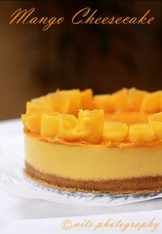 Mango mango everywhere and at my kitchen too :) My heart goes for anything made with mangoes! Eggless Cheesecake Recipe, Eggless Recipes, Eggless Baking, Cheesecake Recipes, Mango Pie, Mango Cheesecake, Mango Mousse Cake, Low Carb Desserts, Sweet Desserts