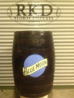 Blue Moon Whiskey barrel By RKD Floral Displays Whiskey Barrels, Blue Moon, Craft Beer, Display, Mugs, Tableware, Floral, Crafts, Floor Space