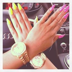 NAIL ART / NAIL DESIGNS / STILETTO NAILS / ACRYLIC NAILS / OVAL NAILS / PINK NAIL POLISH / YELLOW NAIL POLISH