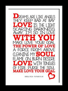 Gabrielle Aplin Power of Love typography song lyric wall art canvas and prints