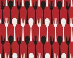 """Patchworkstoff """"Table Dance"""" mit Gabel und Löffel, rot"""