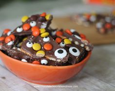 Salted Halloween Monster Bark-adding candy eyes makes for an easy treat!