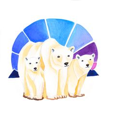 Polar Bear Holiday Card. $5.00 Canadian Animal Families, a watercolour series by Marisa Pahl.