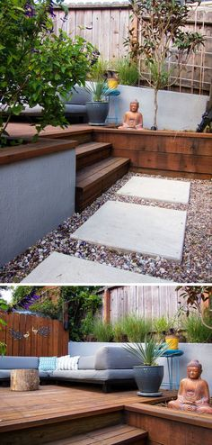 This modern backyard has a small set of wood stairs that leads up to a raised deck with a lounge.