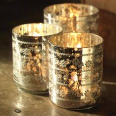 Sparkling silver tea light holders - perfect for your Mum! Order from us at www.prettydandy.co.uk before midnight & save 10% with the code LOVEMYMUM