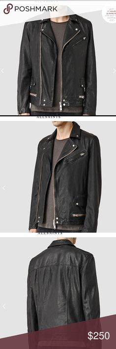 All Saints Leather Jacket Black S Sorry for the shitty pics. Like New/All Saints Leather Jacket/S/Black/2016/Purchased for 20% off $685/Worn ~5 Times. Love the jacket, just need some extra cash right now. All Saints Jackets & Coats