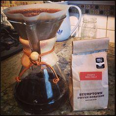 Stumptown coffee brewing in a chemex!