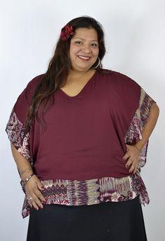 Timeless Pretty Plus Size Printed Poncho Kimono Top - Wine - Debra's Passion Boutique - 1