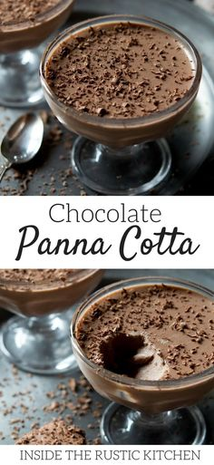 An easy, smooth and creamy chocolate panna cotta. The perfect made ahead Italian dessert that great for dinner parties, weekends and special occasions. Make this panna cotta in under 20 minutes then let it chill in the fridge, it couldn't be easier. 13 Desserts, Make Ahead Desserts, Delicious Desserts, Dessert Recipes, Desserts In A Glass, Picnic Recipes, Picnic Ideas, Picnic Foods, Apple Desserts