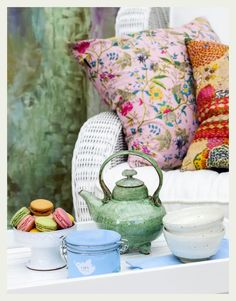 Vintage Indian quilty pillows macaroons