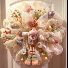 easter mesh wreath ideas | Mesh Easter Wreath Gonna try this one:) | Craft Ideas