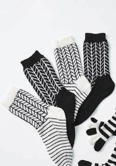 Black and White Chevron Socks Knitting Pattern | FaveCrafts.com